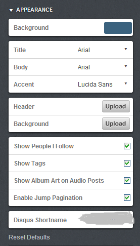 Appearance box on your Customize page