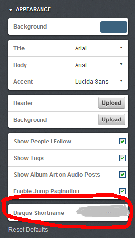 Appearance box with Disqus Shortname highlighted