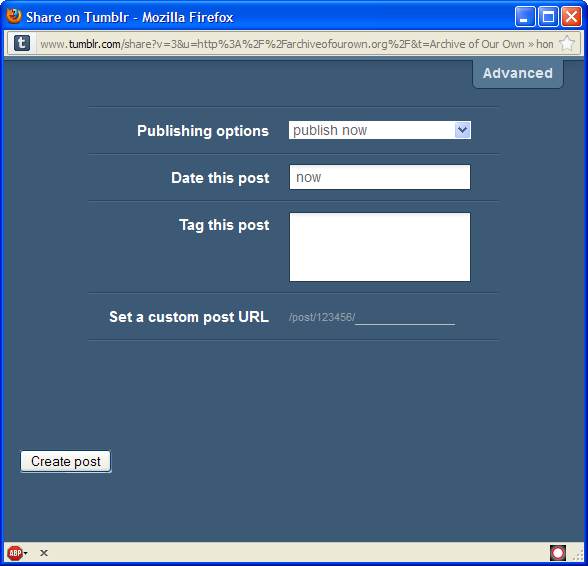 Popup posting page for tumblr with advanced options displayed