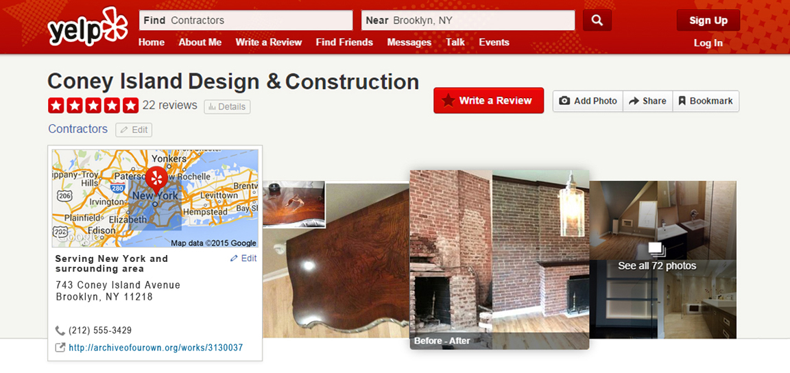 Header for a fake yelp page for Coney Island Design and Construction